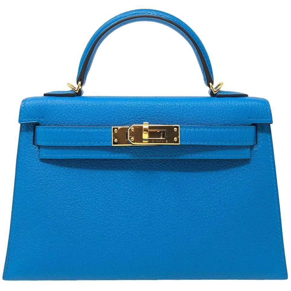 wholesale hermes kelly bag 20 mini kelly ii blue zanzibar chevre gold  hardware 2017 for sale d226846cfbe1d