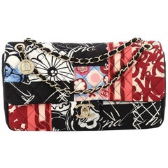 Chanel Classic Single Flap Bag Quilted Patchwork Printed Jersey Jumbo
