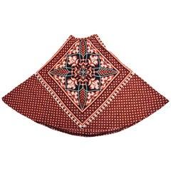 Rare 1960s Greek Designer Roula Stathis Hand Printed Red Geometric Skirt