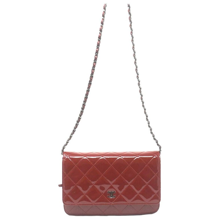 Chanel Dark Red Patent Leather WOC With Card For Sale