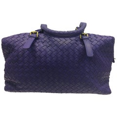 Bottega Veneta Purple Woven Leather Handbag