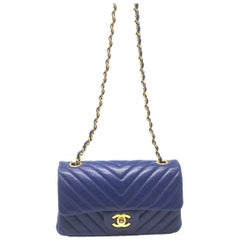 Chanel Small Flap Chevron Blue With GHW and Card