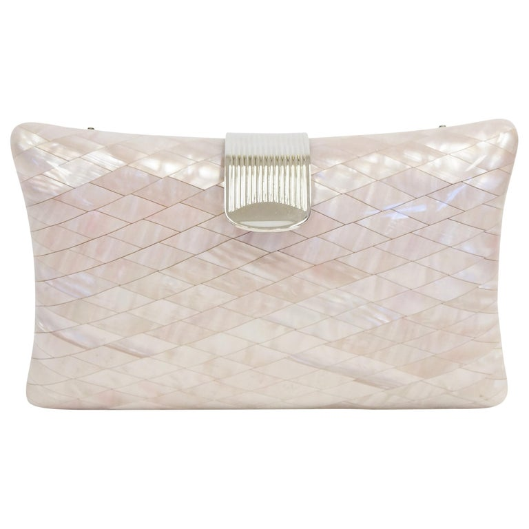 1950s Lisette Mother of Pearl and Lucite Clutch Made in Italy  For Sale