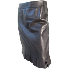 Chanel Karl Lagerfeld Black Leather Skirt with Pleated Hem