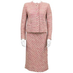 Chanel Creations Pink and Cream Boucle Skirt Suit, 1970s
