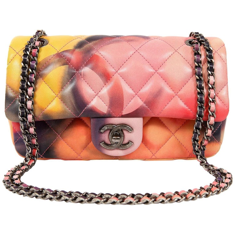 Chanel Printed Watercolor Mini Classic Flap Bag- Special Edition