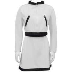 Courreges White Skirt Suit with Black Trim, 1980s