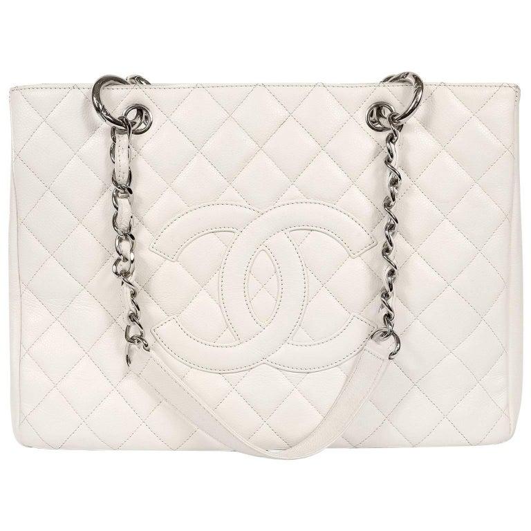 Chanel White Caviar GST Grand Shopping Tote