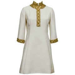 Cream Silk Mini Caftan Dress with Gold Beading, 1960s