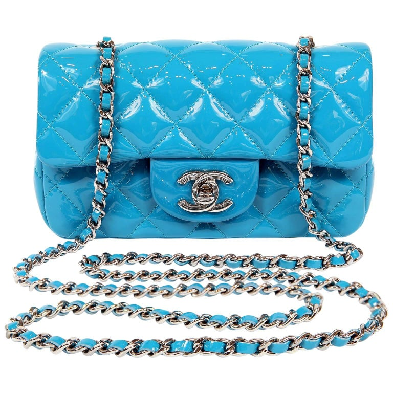 Chanel Turquoise Patent Leather Mini Classic Flap Bag