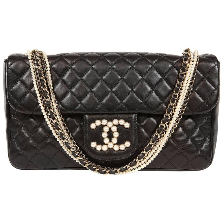 Chanel Black Lambskin Westminster Pearl Flap Bag- Medium