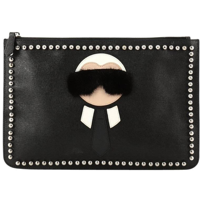 Fendi Karlito Pouch Studded Saffiano Leather Medium
