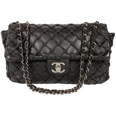 Chanel Black Leather Woven Top Stitch Classic Flap Bag