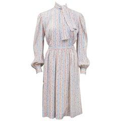 Halston Silk Printed Blouse and Skirt, 1980s