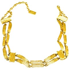 Yves St Laurent Brushed Gold Plated Choker