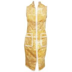 Oscar de la Renta Yellow and White Zipper Front Closure Cotton Blend Dress