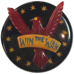 1930s Bakelite Patriotic Eagle Win The War Brooch Pin