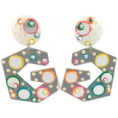 Italian Memphis Studio Style Oversized Colorful Loop Lucite Clip-On Earrings
