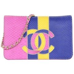 Chanel 2017 Tri-Color Python Patchwork CC Wallet On Chain WOC Bag rt. $4,400