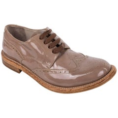 Brunello Cucinelli Womens Patent Leather Lace Brogue Brown Oxfords