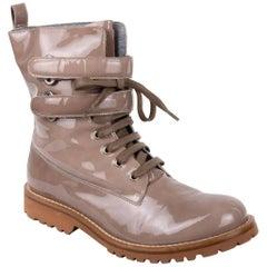 Brunello Cucinelli Women's Patent leather Combat Mocha Boots