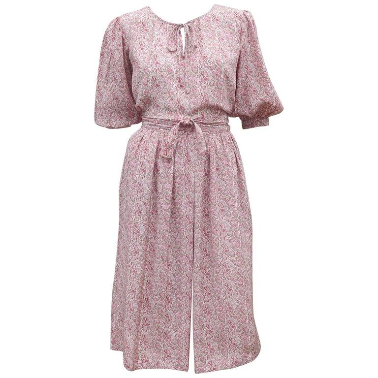 C.1980 Oscar de La Renta Two Piece Silk Floral Peasant Dress For Sale