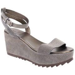 Brunello Cucinelli Grey Monili Ankle Strap Platform Wedge Sandals