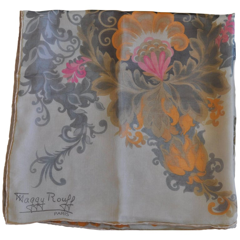 1930s Maggy Rouff Silk Scarf 30x30 For Sale