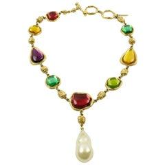 Charles Jourdan Paris Rare Gilt Metal Jeweled Necklace Multicolor Rhinestones