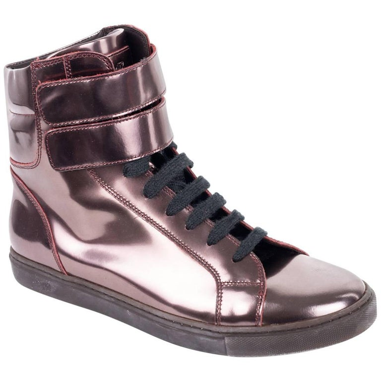 f241771d0f03 Brunello Cucinelli Womens Metallic Leather Copper Hi Top Sneakers For Sale  at 1stdibs