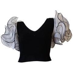 1980s Don Sayres Knit Ruffle Shoulder Blouse