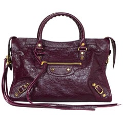 Balenciaga '16 Burgundy Distressed Leather Classic City S Small Crossbody Bag