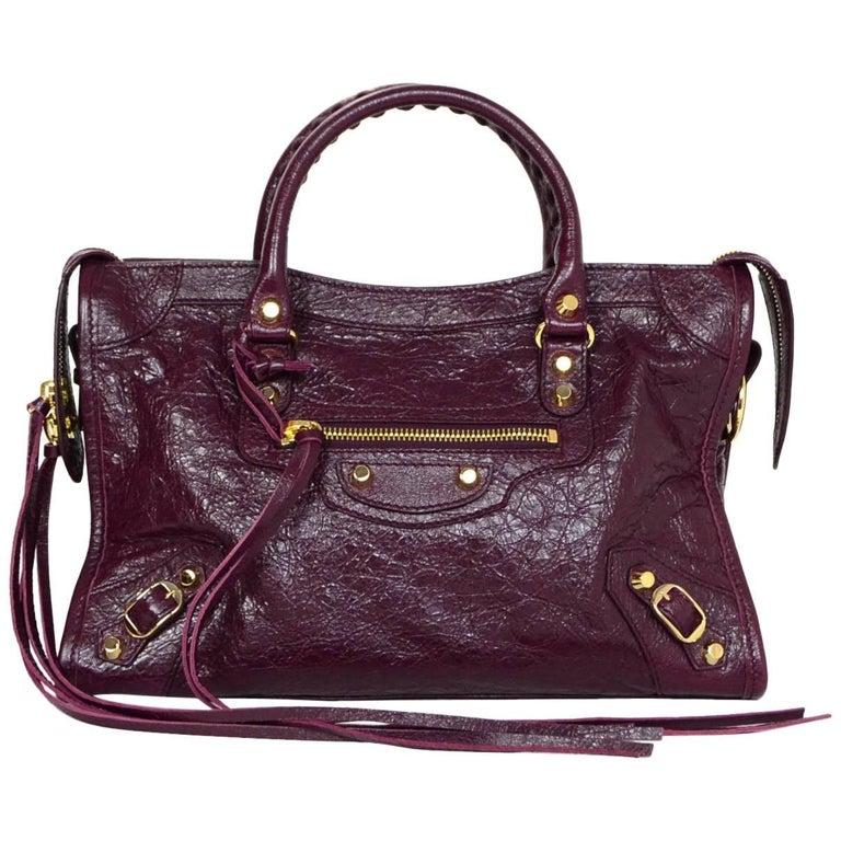 1be60e01ba9 Balenciaga '16 Burgundy Distressed Leather Classic City S Small Crossbody  Bag For Sale