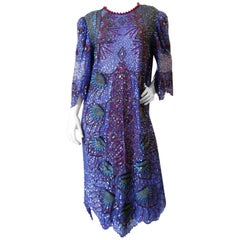 Zandra Rhodes Sequin Embellished Caftan Dress, 1980s