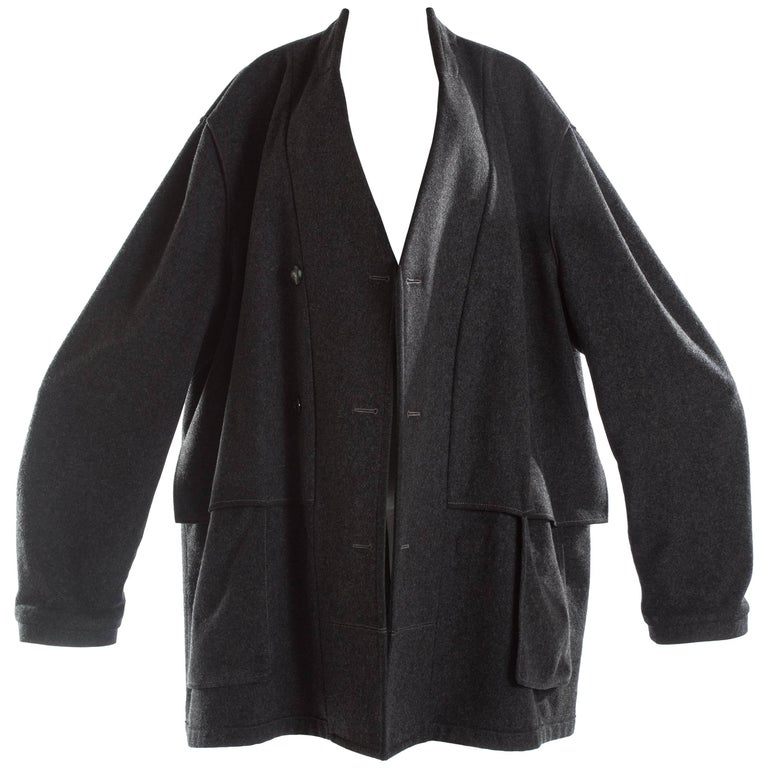 Margiela charcoal melton wool overcoat, A / W 2000
