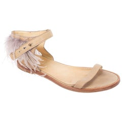 Brunello Cucinelli Womens Brown Leather Feathered Strap Sandals