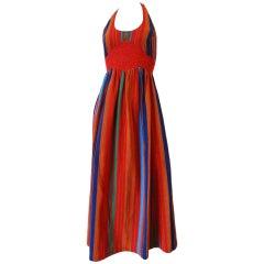1970s Rikma Striped Halter Maxi Dress