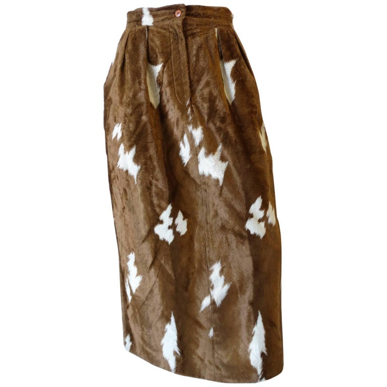 1990s Faux Cowhide Fuzzy Pencil Skirt  For Sale