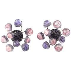 Francoise Montague Paris Resin Talosel Clip-On Earrings Purple Pink Sputnik