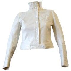 1970s Courreges Monochromatic White Vinyl Jacket