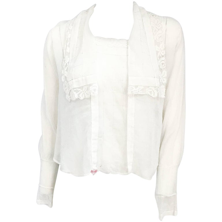 White Handmade Blouse With Lace and Pull Work, Late 1910s