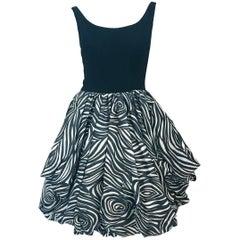 Black and White Bubble Skirt Dress, 1960s