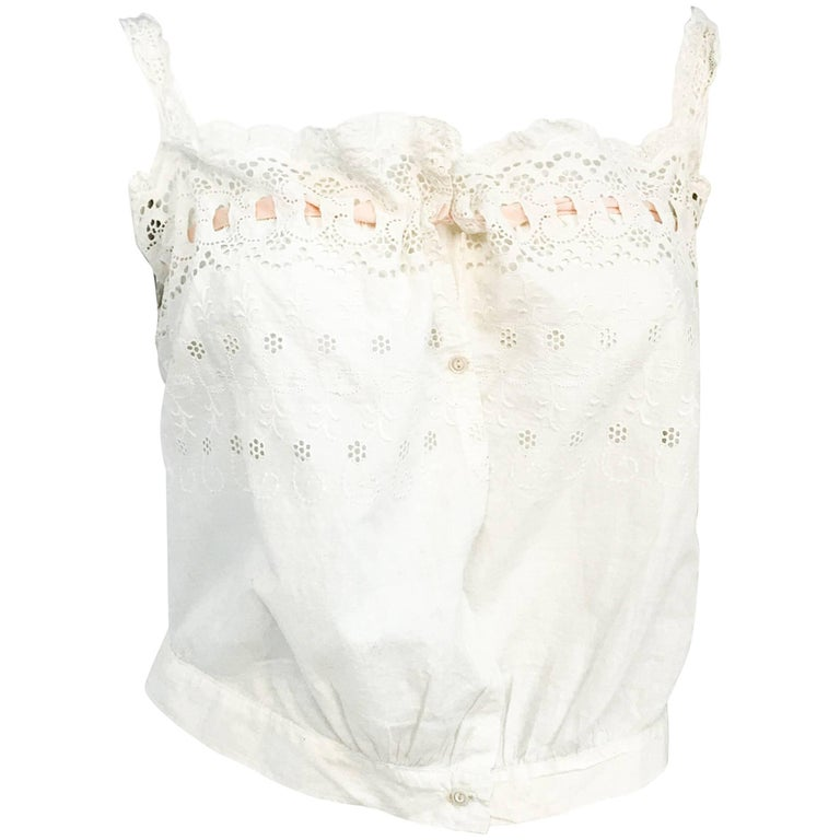 Edwardian Cotton Corset Top with Embroidery and Peach Ribbon
