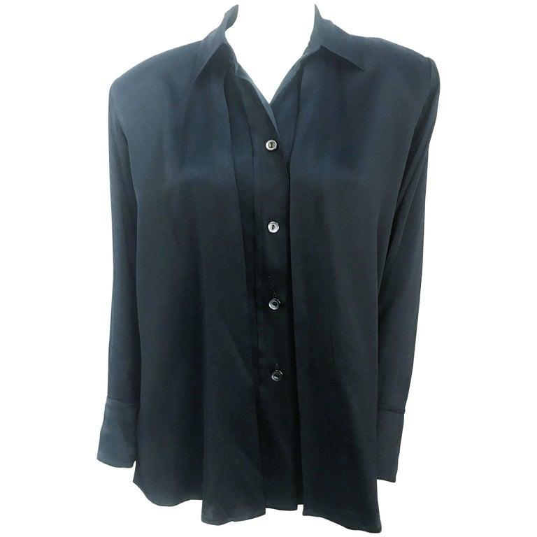 Yves Saint Laurent Black Silk Blouse, 1980s