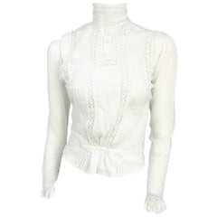 Edwardian White Cotton Long Sleeve Blouse
