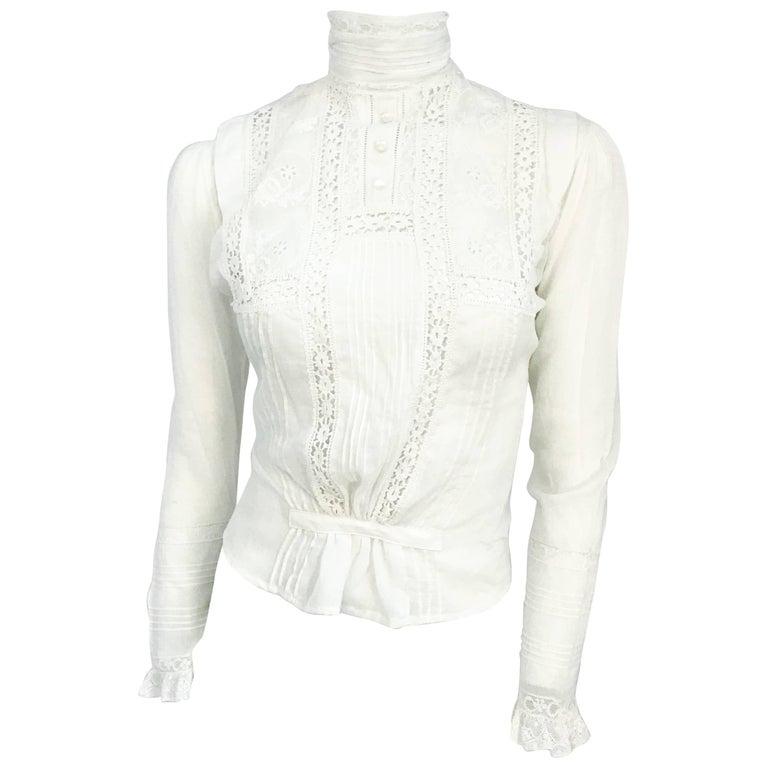 Edwardian White Cotton Long Sleeve Blouse