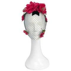 1950s Black Velvet Bow and Silk Flowers with Veil