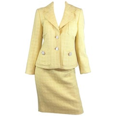 Vintage 1997 C Chanel Yellow Tweed Knit Skirt Suit