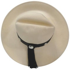 Whittall & Shon Cream and Black Tassel Hat, 1980s