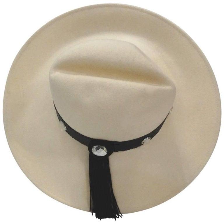 Whittall & Shon Cream and Black Tassel Hat, 1980s
